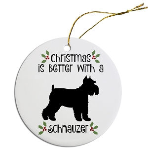 Breed Specific Round Christmas Ornament Schnauzer