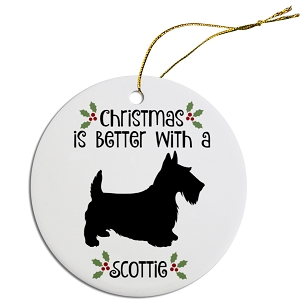 Breed Specific Round Christmas Ornament Scottie
