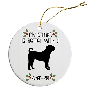 Breed Specific Round Christmas Ornament Shar-Pei