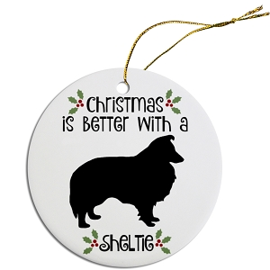 Breed Specific Round Christmas Ornament Sheltie