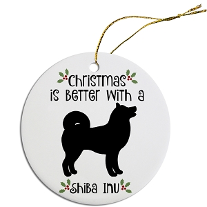 Breed Specific Round Christmas Ornament Shiba Inu