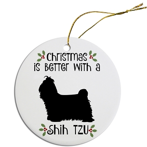 Breed Specific Round Christmas Ornament Shih Tzu