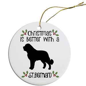 Breed Specific Round Christmas Ornament St. Bernard