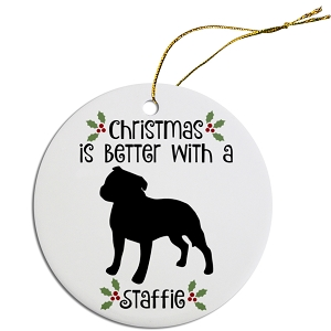 Breed Specific Round Christmas Ornament Staffie