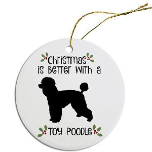 Breed Specific Round Christmas Ornament Toy Poodle