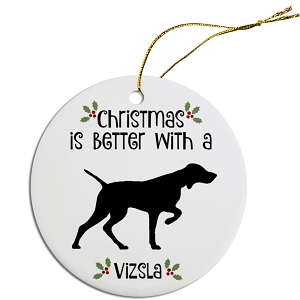 Breed Specific Round Christmas Ornament Vizsla