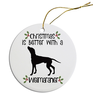 Breed Specific Round Christmas Ornament Weimaraner