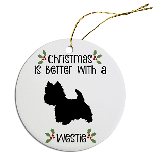 Breed Specific Round Christmas Ornament Westie