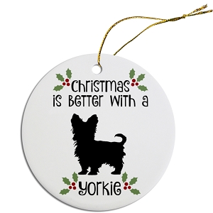 Breed Specific Round Christmas Ornament Yorkie