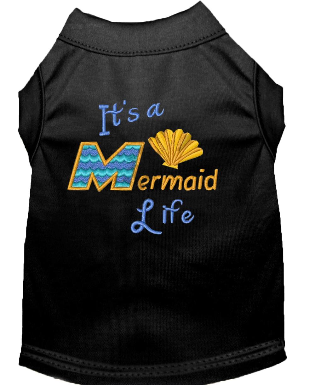 Mermaid life embroidered dog shirt black xxl 18 for Xxl 18 xxl 2012 black