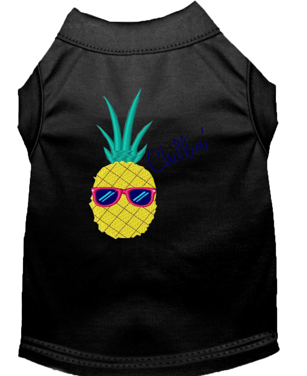 Pineapple chillin embroidered dog shirt black xxl 18 for Xxl 18 xxl 2012 black