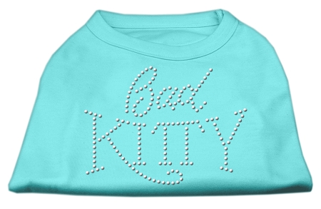 Bad Kitty Rhinestud Shirt Aqua L