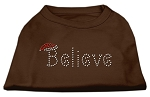 Believe Rhinestone Shirts Brown XS