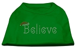 Believe Rhinestone Shirts Emerald Green XS