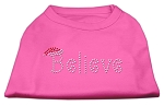 Believe Rhinestone Shirts Bright Pink XL