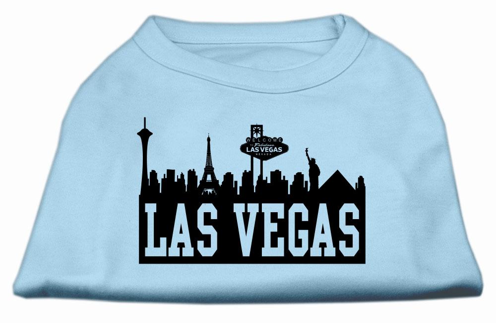 Las vegas skyline screen print shirt baby blue lg 14 for Las vegas shirt printing
