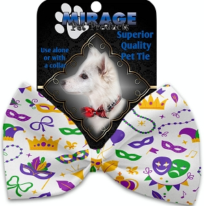 Mardi Gras Masks Pet Bow Tie Collar Accessory with Velcro