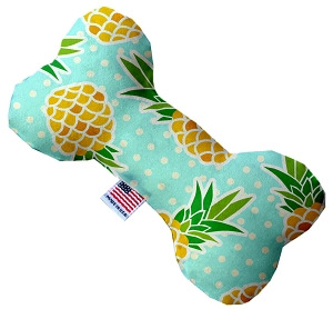 Pineapples and Polka Dots 6 inch Stuffing Free Bone Dog Toy