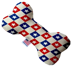Patriotic Checkered Stars 6 inch Stuffing Free Bone Dog Toy