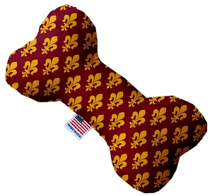 Maroon Fleur de Lis 6 inch Stuffing Free Bone Dog Toy