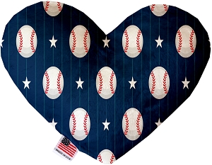Baseball Pinstripes 6 inch Stuffing Free Heart Dog Toy