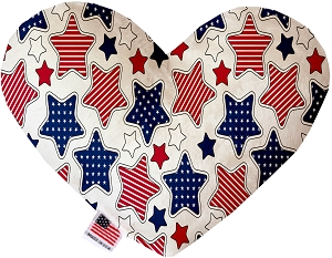 Patriotic Stars 6 inch Stuffing Free Heart Dog Toy