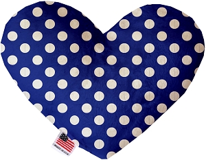 Bright Blue Swiss Dots 6 inch Stuffing Free Heart Dog Toy
