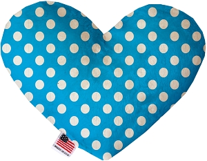 Aqua Blue Swiss Dots 6 inch Stuffing Free Heart Dog Toy