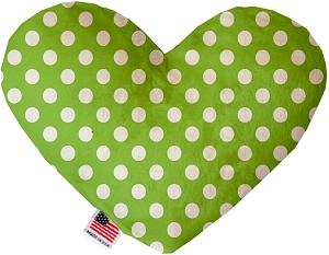 Lime Green Swiss Dots 6 inch Stuffing Free Heart Dog Toy