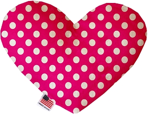 Hot Pink Swiss Dots 6 inch Stuffing Free Heart Dog Toy