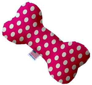 Hot Pink Swiss Dots 6 inch Stuffing Free Bone Dog Toy