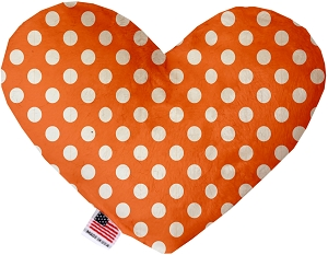Melon Orange Swiss Dots 8 Inch Heart Dog Toy