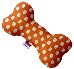 Melon Orange Swiss Dots 10 Inch Bone Dog Toy