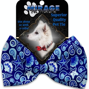Blue Seashells Pet Bow Tie