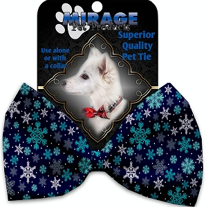 Snowflake Blues Pet Bow Tie Collar Accessory with Velcro