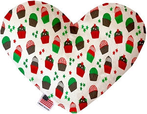 Christmas Cupcakes 6 inch Stuffing Free Heart Dog Toy