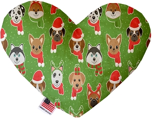 Christmas Dogs 6 inch Stuffing Free Heart Dog Toy