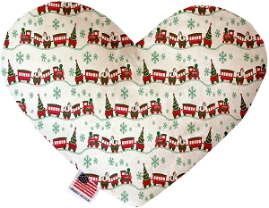 Christmas Trains 6 inch Stuffing Free Heart Dog Toy