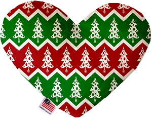 Chevron Christmas Trees 6 inch Stuffing Free Heart Dog Toy