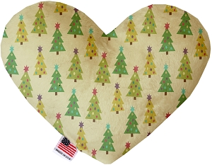 Cutesy Christmas Trees 6 inch Stuffing Free Heart Dog Toy