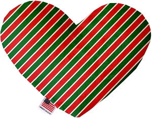 Christmas Stripes 6 inch Stuffing Free Heart Dog Toy