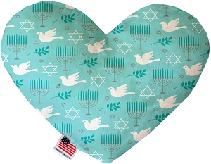 Peace and Hanukkah 6 inch Stuffing Free Heart Dog Toy