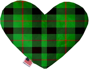 Green Plaid 6 inch Stuffing Free Heart Dog Toy