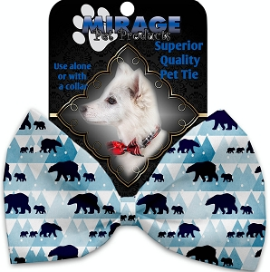 Winter Bear Tracks Pet Bow Tie