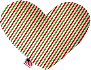 Christmas Pinstripes 8 Inch Heart Dog Toy