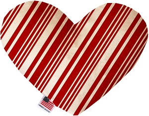 Classic Candy Cane Stripes 8 Inch Heart Dog Toy