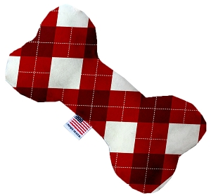 Candy Cane Argyle 8 Inch Bone Dog Toy