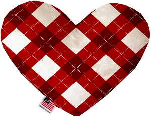 Candy Cane Argyle 8 Inch Heart Dog Toy