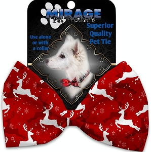 Dancing Reindeer Pet Bow Tie