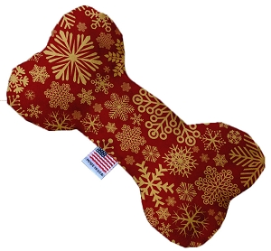 Red Snowflakes 10 Inch Bone Dog Toy